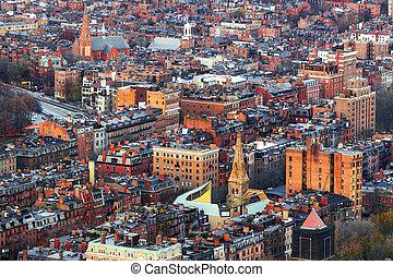 Boston, Massachusetts, USA aerial cityscape view of Back Bay neighborhoods.