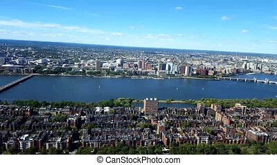 Aerial view of Boston. View of the Boston Harbor where the famous Tea Party occurred.