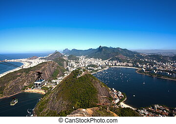 botafogo and copacabana - aerial view of botafogo and...