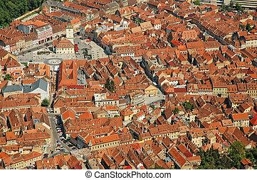 Aerial view of Brasov city, Romania