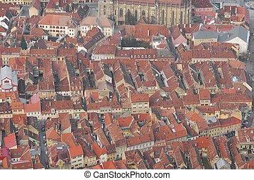 aerial view of Brasov european old town