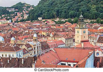 Aerial view of Brasov, Romania.