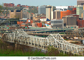 Aerial View Of Brent Spence Bridge, Cincinnati Ohio and the traffic snarled highways crossing the Ohio River from Kentucky to Ohio.