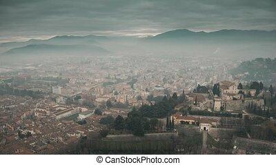 Aerial view of Brescia cityscape, Italy