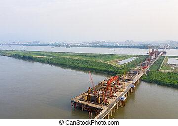 aerial view of bridge construction site