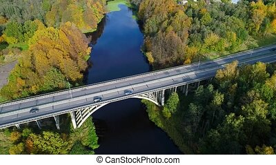 aerial view of bridge over river