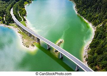 Aerial view of Bridge over Sylvenstein Lake