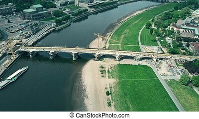 Aerial view of bridge renovation works in Dresden, Germany