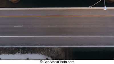 Aerial view of bridge traffic