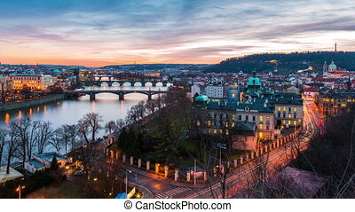 aerial view of bridges in Prague, day to night timelapse