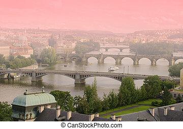 Aerial view of Bridges of Prague, Czech Republic