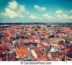 Aerial view of Bruges (Brugge), Belgium - Vintage retro...