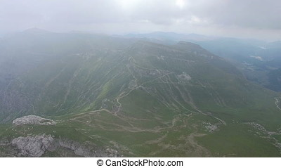 Aerial view of Bucegi mountains and trails, Romania