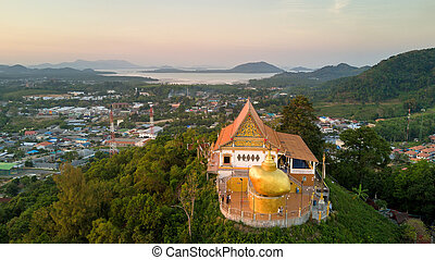 Aerial view of Buddhist temple in Phuket
