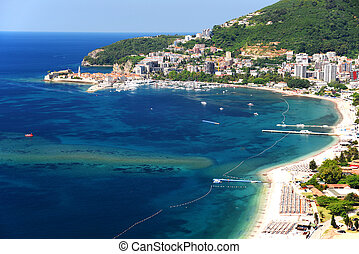 Aerial view of Budva, Montenegro on Adriatic coast.