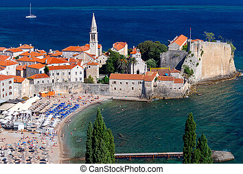 Aerial view of Budva on a sunny day.