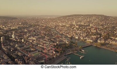 Aerial view of buildings in Zurich and the Limmat river...
