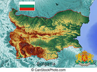 Bulgaria map flag coat