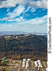 Aerial view of Burnaby Mountain during a vibrant morning