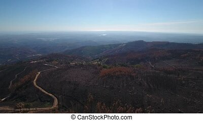 Aerial. View of burned fields and forests with the drone. Portugal Monchique.