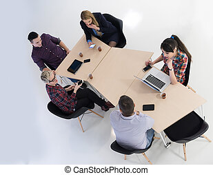 aerial view of business people group on meeting