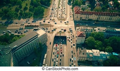 Aerial view of busy city streets intersection in Warsaw,...