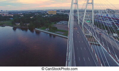 Aerial view of cable-stayed bridge across the Neva river