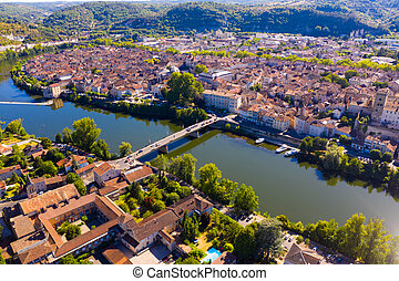Panoramic view from drone of houses, hills and Lot river of french city Cahors