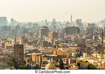 Aerial view of Cairo - Aerial view of the city of Cairo with...