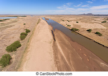 Aerial view of Caledon river - South Africa