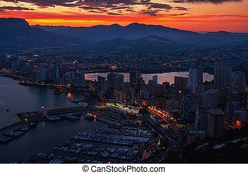 Aerial view of Calpe, Costa Blanca at sunset