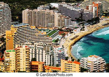 Aerial view of Calpe, Costa Blanca. Popular summer resort in Spain