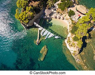 Aerial view of Cameo Island in Zakynthos (Zante) island, in...