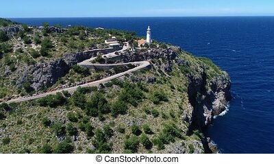 Aerial view of Cap Gros lighthouse located on a cliff in the...