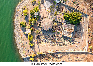 Aerial view of Capernaum, Galilee, Israel - Aerial view of...