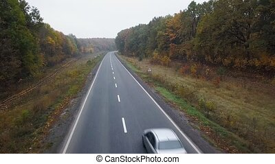 Aerial view of car on the road surrounded by autumn forest