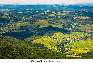 aerial view of carpathian countryside. beautiful summer...