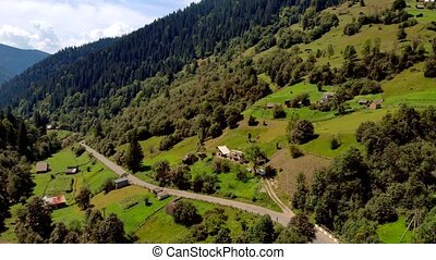 Aerial view of Carpathian mountains in summer.