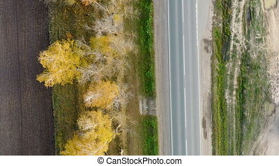 Aerial view of cars driving on country autumn road