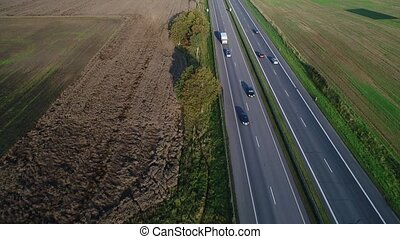aerial view of cars going on highway