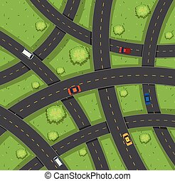 Aerial view of cars on roads