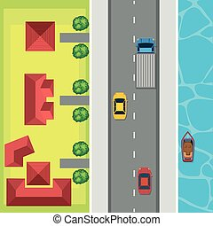 Aerial view of cars on the road