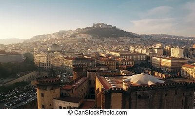 Aerial view of Castel Nuovo and Castel Sant'Elmo castles in Naples