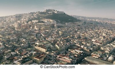 Aerial view of Castel Sant'Elmo castle in Naples, Italy
