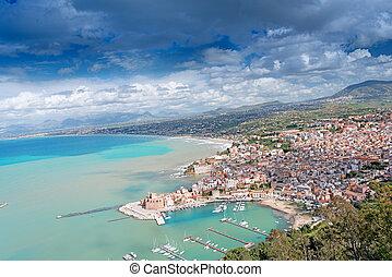 Aerial view of Castellamare del Golfo in Italy