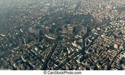 Aerial view of Castello Sforzesco castle and Sempione Park...