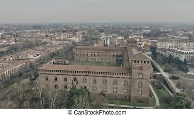 Aerial view of Castello Visconteo or Visconti Castle in...
