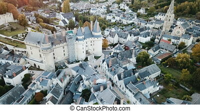 Aerial view of medieval castle of Chateau de Langeais located in commune of same name in Indre-et-Loire department, France