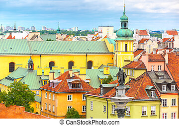 Aerial view of the Sigismund Column at Castle Square and Warsaw Old town, Poland.