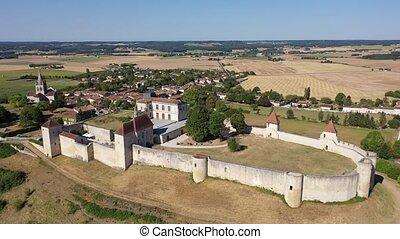 Aerial view of castle Villebois-Lavalette. Charente ...